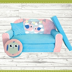 Kindersofa zum Aufklappen Bird Cloud 29. Bird Blue