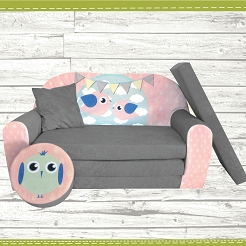 Kindersofa zum Aufklappen Bird Cloud 31. Bird Grey