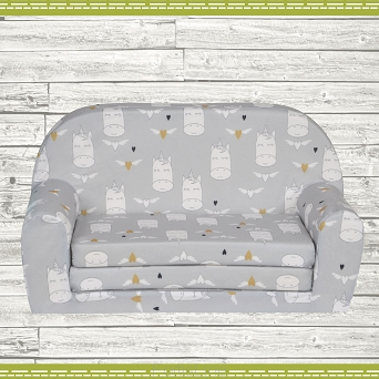 Kindersofa MINI Kindercouch W386_52 Einhorn GRAU