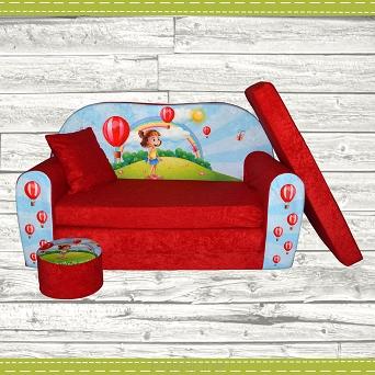 kindersofa zum aufklappen girl red. Black Bedroom Furniture Sets. Home Design Ideas