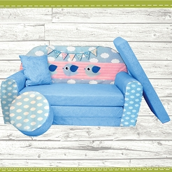 Kindersofa zum Aufklappen Bird Cloud 32. Cloud Blue