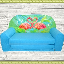 Kindersofa MINI Kindercouch W386_37 Flamingo Blau