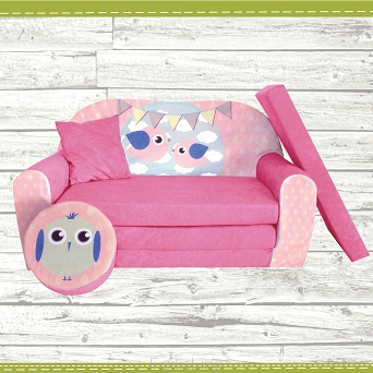 Kindersofa zum Aufklappen Bird Cloud 30. Bird Pink