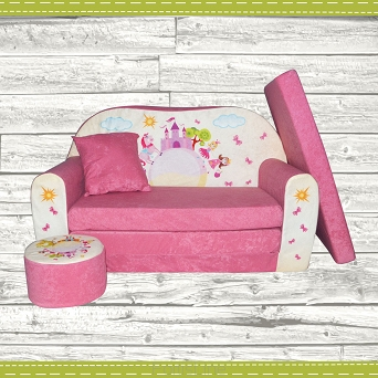 kindersofa zum aufklappen pink castle. Black Bedroom Furniture Sets. Home Design Ideas